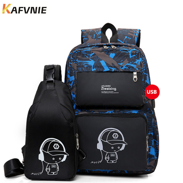 New 2 In I1 High School Usb Male Backpack Set For Boys Chest Bag Student Book