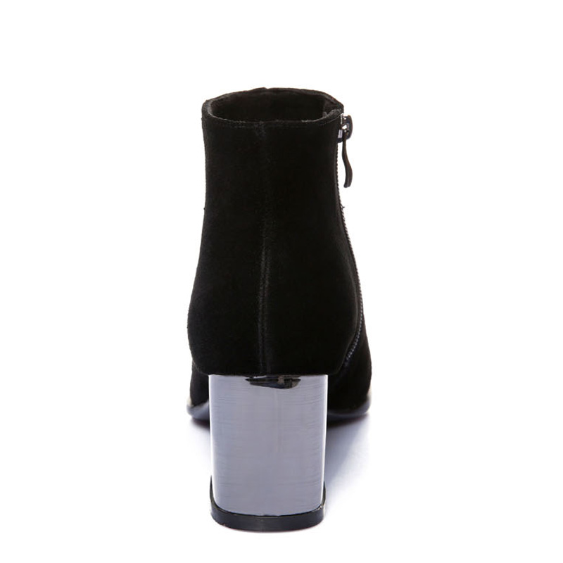 E TOY WORD Women Booties Fashion Metal Pointed Thick heel Autumn Winter Women Boots zipper simple Black Ankle Boots in Ankle Boots from Shoes