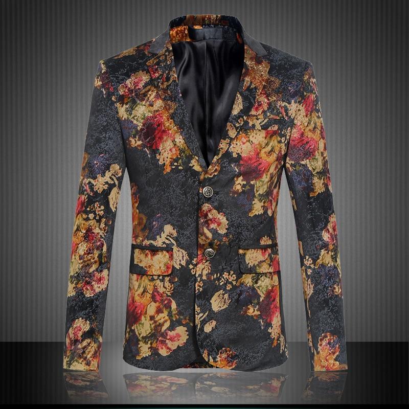 Fashion mens red floral print black blazer slim fit evening party blazer men costume homme men