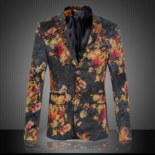 Fashion mens red floral print black blazer slim fit evening party blazer men costume homme men's clothing size m-6xl XF38