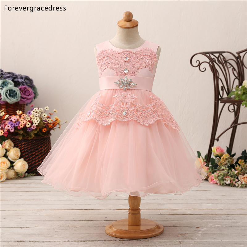Forevergracedress Lovely Pink   Flower     Girls     Dresses   2019 Ball Gown Lace Sleeveless Bow Back Kids Pageant Children Gowns