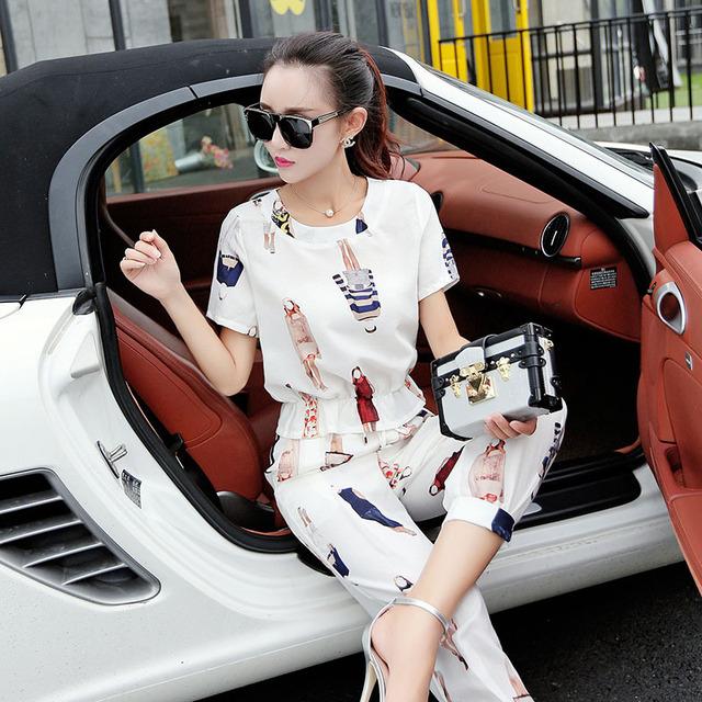 2015 novas calças de algodão de lazer sete + pequeno real camisa de manga curta de duas peças terno fino feminino