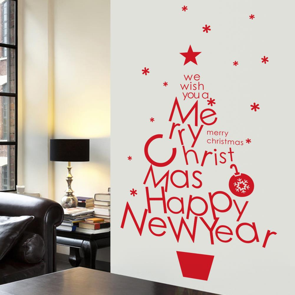 merry christmas decoration wall stickers tree wall tattoos happy new year store shop showcase decoration in wall stickers from home garden on