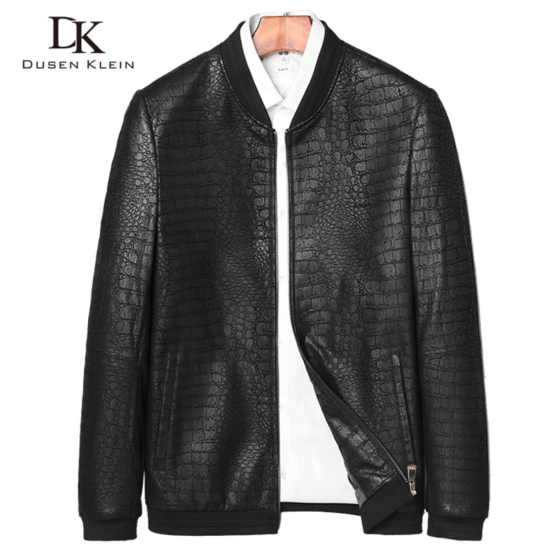 Brand Leather Jackets Formen Genuine Sheepskin Coats Crocodile Pattern Dusen Klein  Fashion Leather Men Coat And Jacket J1718(China)