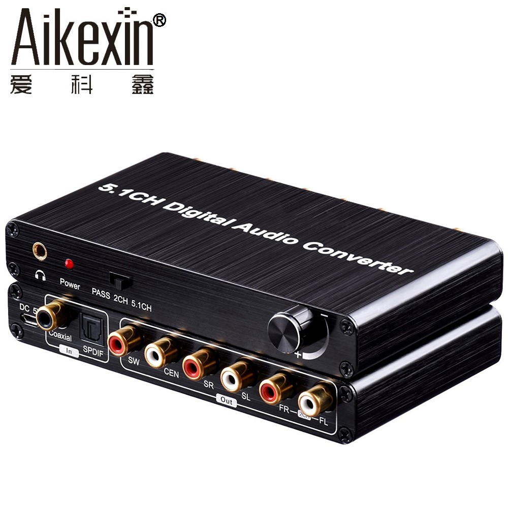 Aikexin 5.1 Digital Audio Decoder Converter,Optical SPDIF/Coaxial AC3/DTS/Dolby to 5.1 Analog Audio Gear Support Volume Control doitop dolby dts ac 3 optical to 5 1 channel rca analog converter stereo dac digital 5 1 audio gear decoder sound spdif decoder