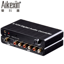 Aikexin 5.1 Digital Audio Decoder Converter,Optical SPDIF/Coaxial AC3/DTS/Dolby to 5.1 Analog Audio Gear Support Volume Control