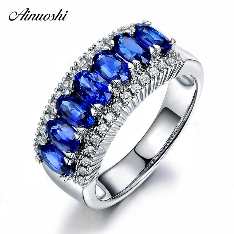 AINUOSHI 0 5 Carat Oval Cut Blue Red Sona Row Drill Bridal Rings 925 Sterling Silver