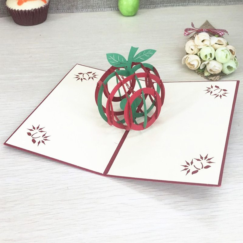 1pcs green christmas apple 3d laser cut pop up paper handmade 1pcs green christmas apple 3d laser cut pop up paper handmade postcard custom xmas greeting cards with envelope gifts for lover in cards invitations from m4hsunfo