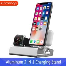 Алюминиевая 3 в 1 зарядная док-станция для iPhone X XR XS Max 8 7 6 Apple Watch Airpods зарядное устройство Держатель для iWatch крепление подставка Док-станция