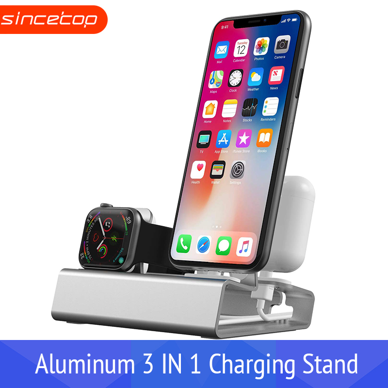 Aluminum 3in 1 Charging <font><b>Dock</b></font> For <font><b>iPhone</b></font> X XR XS Max 8 7 6 Apple Watch Airpods Charger Holder For iWatch Mount Stand <font><b>Dock</b></font> <font><b>Station</b></font> image