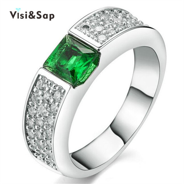 Visisap White Gold Color Ring Green Stone Wedding Rings For Women Cubic Zircon Jewelry Luxury Wholesale