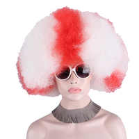 Afro kręcone peruka krótka Big Top kolorowy biały czerwony kobiety kibice piłki nożnej peruka flaga Anxin Party karnawał dzień peruka do cosplay Anime włosy