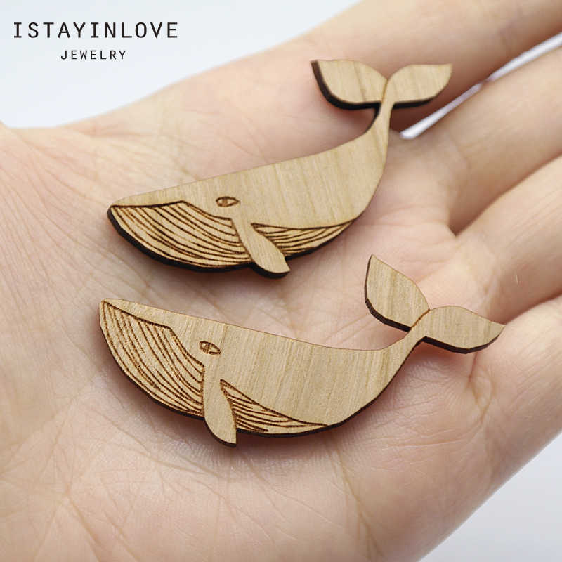 Handmade Jewelry Making Supplies Beads Laser Cut Wooden Whale Charm For DIY Necklace Earring Brooch Ring SWC277 2