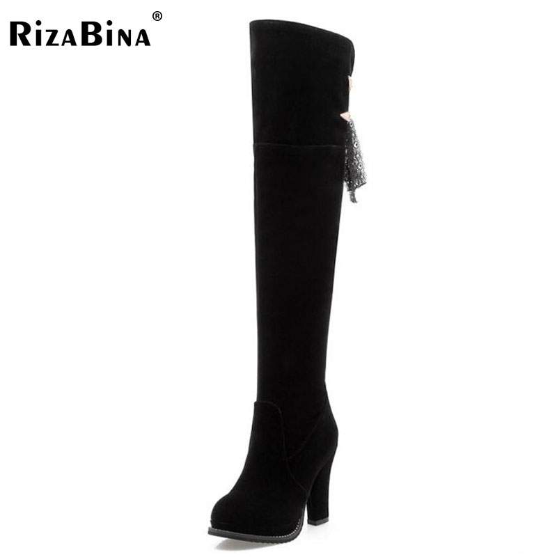 RizaBina Ladies Over Knee Warm Shoes Women Back Strap Lace Side Zip Boots Woman Winter Fur Warm Snow Botas Footwear Size 33-43 thigh high over the knee snow boots womens winter warm fur shoes women solid color casual waterproof non slip plush wedges botas