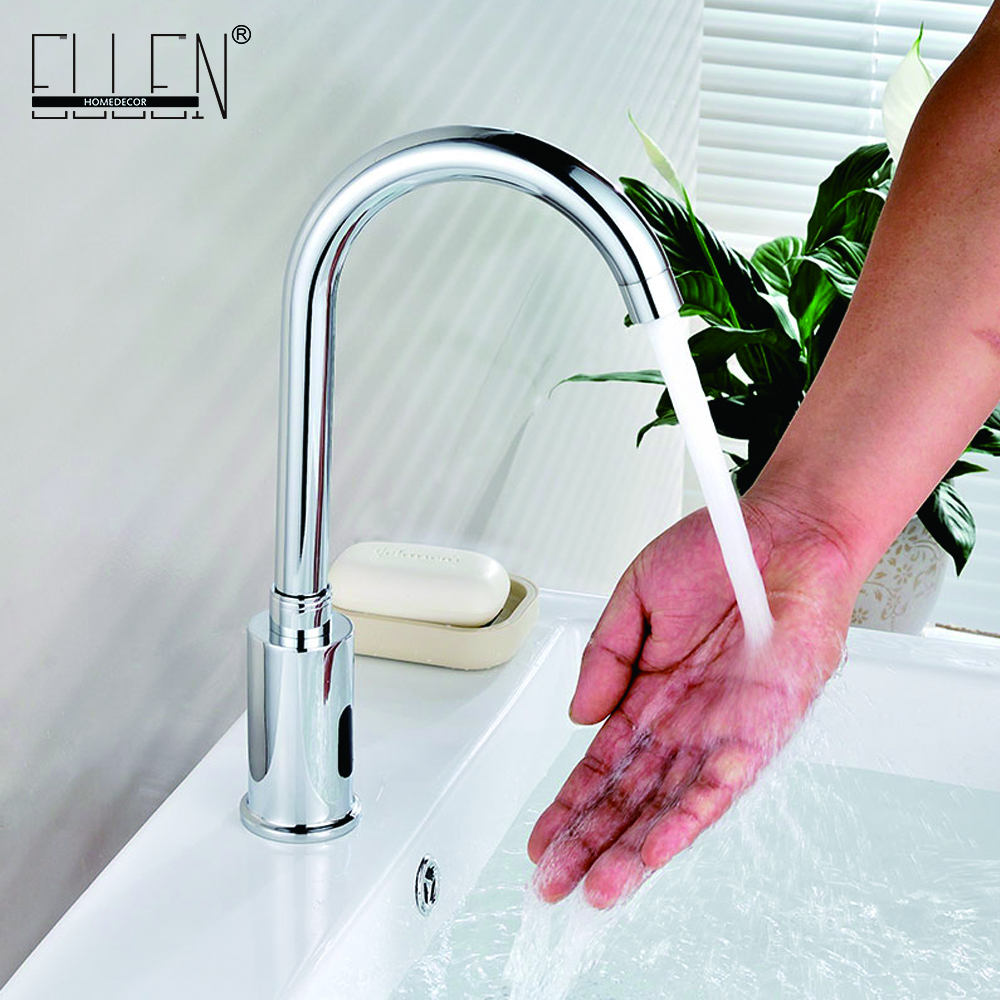 High Quality Basin Faucet Chrome Cold & Hot Hand Touch Tap Automatic Inflated Sensor Deck Mounted Crock Tap Mixer