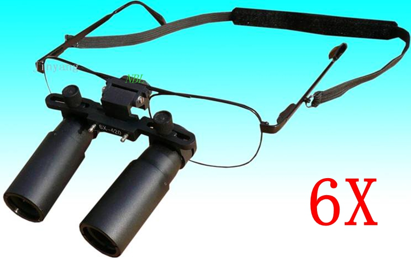 6X 420MM Dental Binocular Loupes 6x Magnifying Lens Surgical Dental Medical Loupe Operations Kepler Magnifier Glasses With Box highquali 6 5x kepler binocular medical magnifying glass surgical loupes dental loupes medical loupes with led light fd 501 k 1