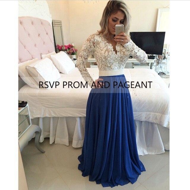 c7ba902314ba11 Long Sleeve Navy Blue Prom Dress 2017 V-neck White Lace Pearls Sash Floor  Length Long Elegant Prom Dresses