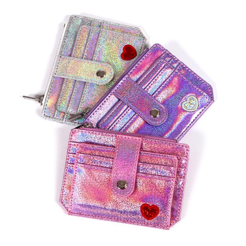 THINKTHENDO 2018 New Fashion Wallet Slim Money Credit Card Holder ID Business Women Laser Shining PU Leather Purse Case