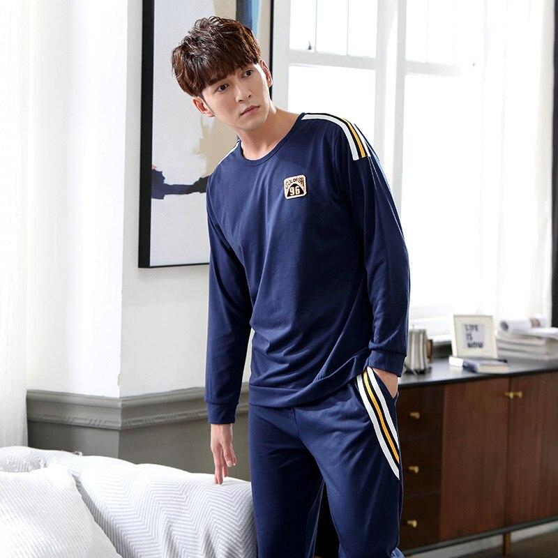 Men   Pajama     Set   Nightwear Autumn Winter Plus Size Cotton Long-sleeve Male Sleepwear   Sets   Long Pant Pyjamas   Sets   Warm   Pajamas   Men