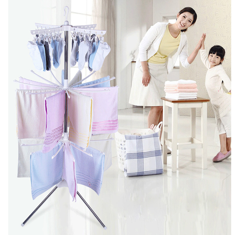 Simple Drying Rack Vertical Folding Mobile Towel Rack Hanger  Foldable Balcony Hanger Indoor Drying Stand Clothes Rack Windproof