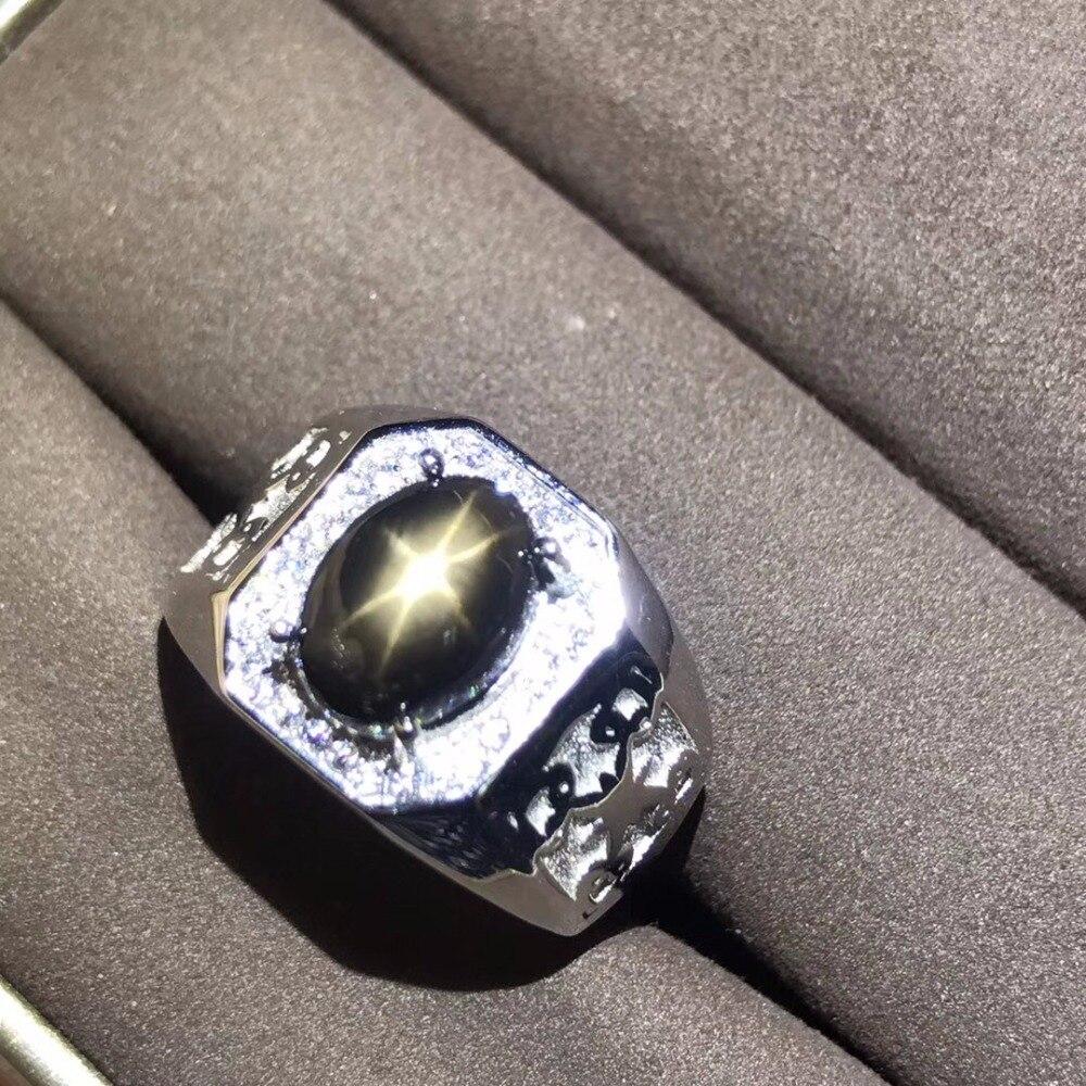 자연 스타 라이트 사파이어 남자 반지 스타 라인 좋은 디자인 분위기 925 실버 손가락 반지 번호 사용자 정의 할 수 있습니다-에서반지부터 쥬얼리 및 액세서리 의  그룹 1