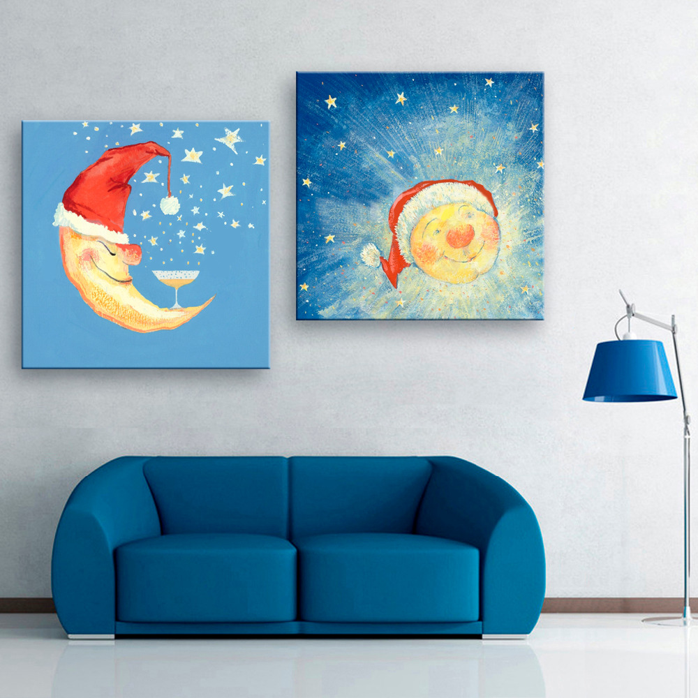 online get cheap stretched canvas wall art aliexpress com art print stretched canvas moon sun decoration painting home decor on canvas modern wall art canvas