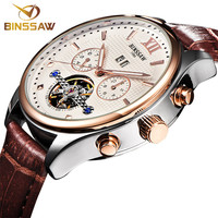 BINSSAW The New 2016 Men S Fashion Automatic Mechanical Watch Tourbillon Leather Luxury Brand Sports Watches