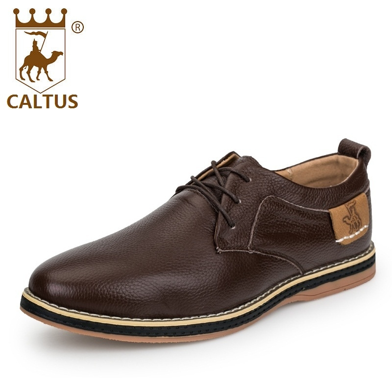 CALTUS Summer Casual Shoes Breathable New Fashion Oxfords Men Flats Genuine Leather High Quality Shoes AA20546 newest design men summer sandals style flats fashion casual breathable genuine leather punching shoes for men simple shoes male