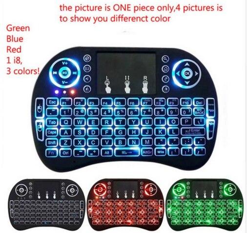 Rétro-éclairage i8 clavier 10/20 pièces anglais russe sans fil clavier Air souris Touchpad portable rétro-éclairé pour Android TV BOX Mini PC