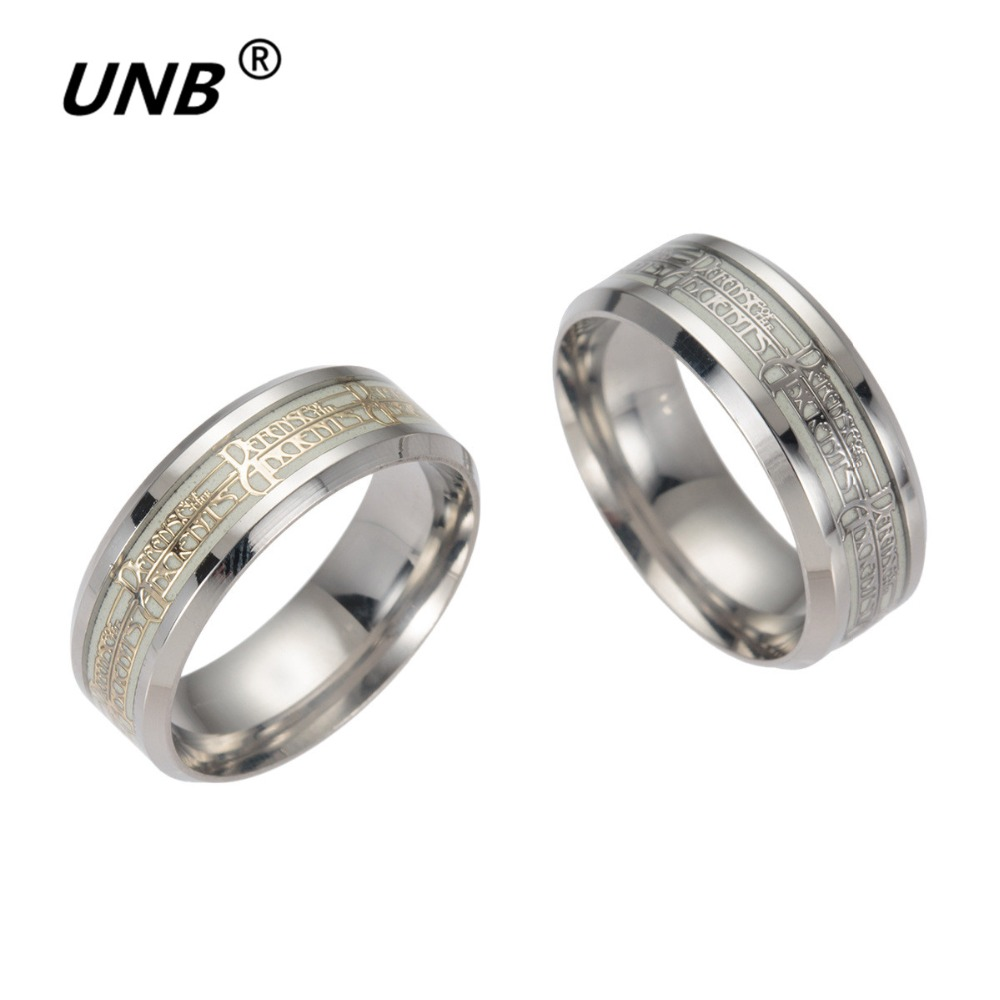 Unb Fashion Stainless Steel Dota 2 Anime Game Rings For Men Glow In