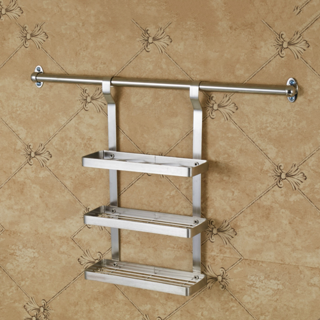 Three Layer Stainless Steel Hanging Spice Rack Wall Mounted Kitchen