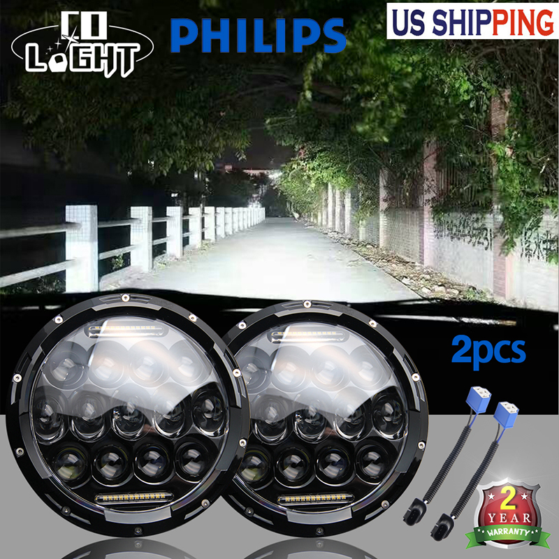2Pcs Led Headlight Super Bright 12V 105W H4 7 Inch Round With White Drl Yellow Lamp for Am General Hummer 1992~2001