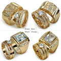 Set 18k Gold filled mens womens wedding engagement ring band  men size 8-15; women size 6-10