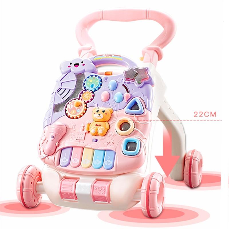 Bébé poussette marcheur jouet anti-retournement apprentissage debout marche bébé chariot multifonction avec musique