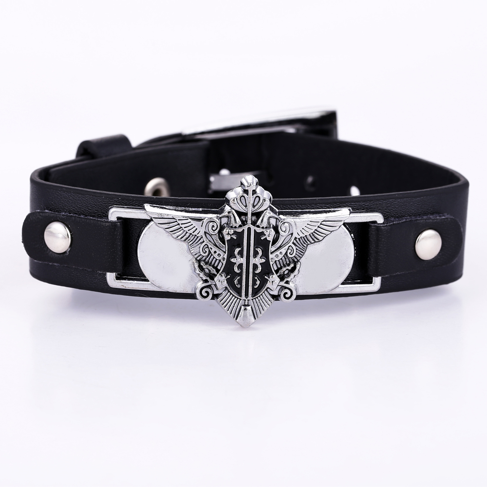 Lether bracelet men jewelry in Cosplay & Anime Black Butler black bracelets & bangles gifts anime Punk accessories wristband