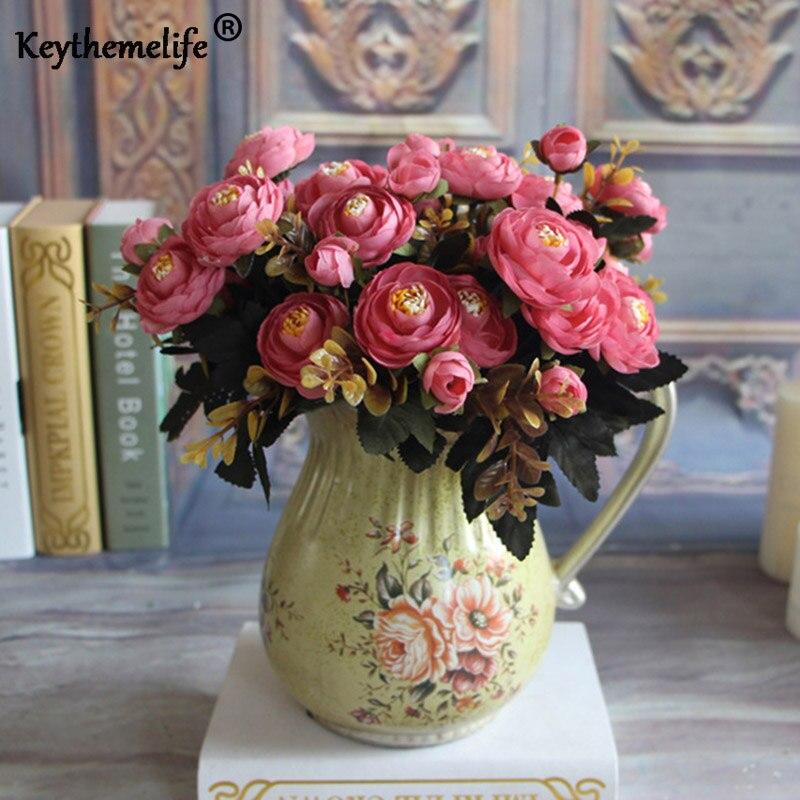 Keythemelife Bunga Buatan Sutra Bunga 6 Cabang Fall Jelas Peony Palsu Daun Pernikahan  Dekorasi Rumah Pesta 3117dd4a59