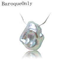 BaroqueOnly 925 silver sterling box chain pendant necklace pearl necklace gray irregular baroque flat pearl high luster 15-20mm(China)