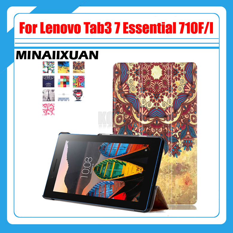 Printed PU Leather Case for Lenovo Tab 3 7.0 Essential 710F 701I Tablet Magnet Stand Cover for Lenovo Tab3 TB3-710F TB3-710I