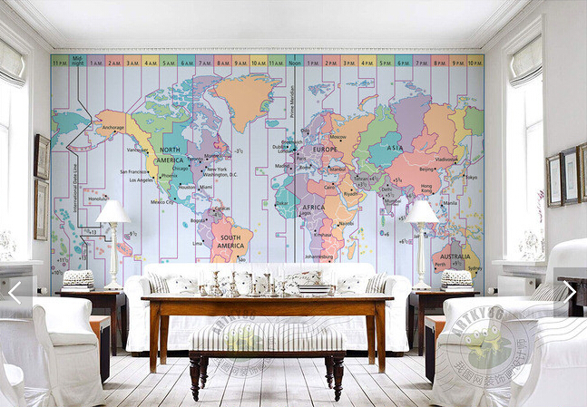 aliexpresscom buy custom photo wallpaperworld time zone map d wallpaper for living room bedroom tv hanging ceiling background wall pvc wallpaper from : zones bedroom wallpaper