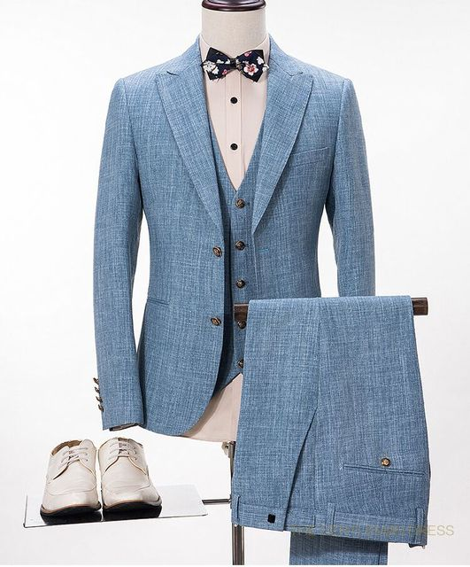 2017 Latest Coat Pant Designs Light Blue Linen Wedding Suits For Men Slim  Fit 3 Piece Blazer Custom Groom Tuxedo Terno Masculino bbe31f40e54a