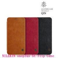 NILLKIN skórzanym etui dla oneplus 5 t Flip Case Z Kieszeni Karty + szkło folię ochronną z ekranu 6.01 cal Oryginalny A5010 pokrywa 5 t