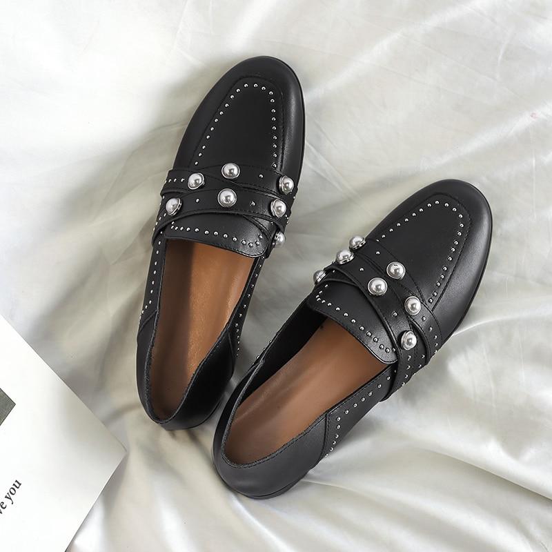 Mujeres Cordón on Las Femenino Confort Mocasines Hebilla Cuero Diseñador Slip Planos Genuino brown Ocio Zapatos Black Alpargatas Suave Marca De xnAtIq
