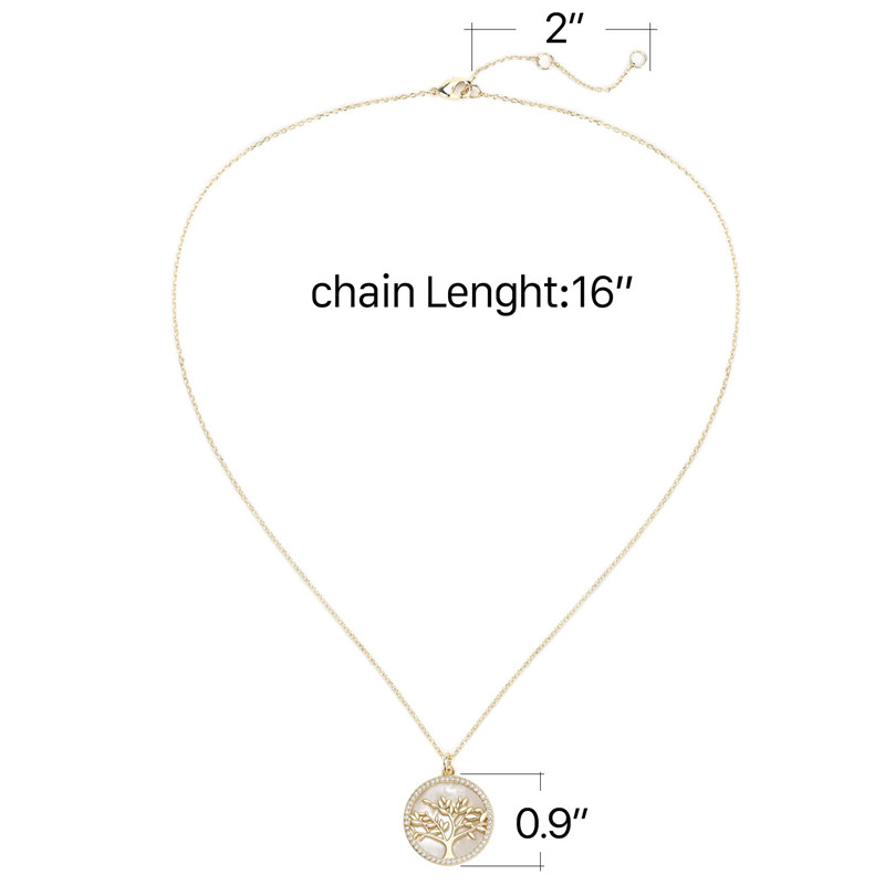 Popular Jewelry Gold Plated Brass CZ Pearl Shell Pendant Necklace Women (10)