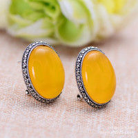 925 Sterling Silver Jewelry Retro Thai Silver Yellow Chalcedony Female Models Studs