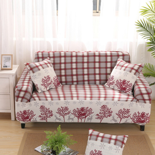 Sofa Covers Elastic Spandex Printed Plaid Slipcovers Furniture Protector Cover For Living Room Office V20