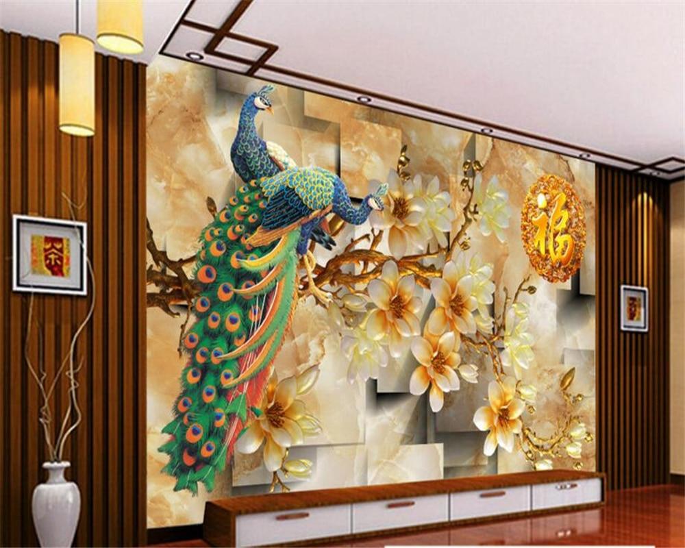 Beibehang 3d Large Wall Mural Wallpaper Hd Bridge At Night: Beibehang Custom Wallpaper Living Room 3D Magnolia Peacock
