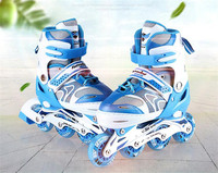 Kid's Roller Skates Shoes Athletic Roller Shoe PU Material Skating Shoes All Wheels Adjust Shoes Daily Street Size Adjustable