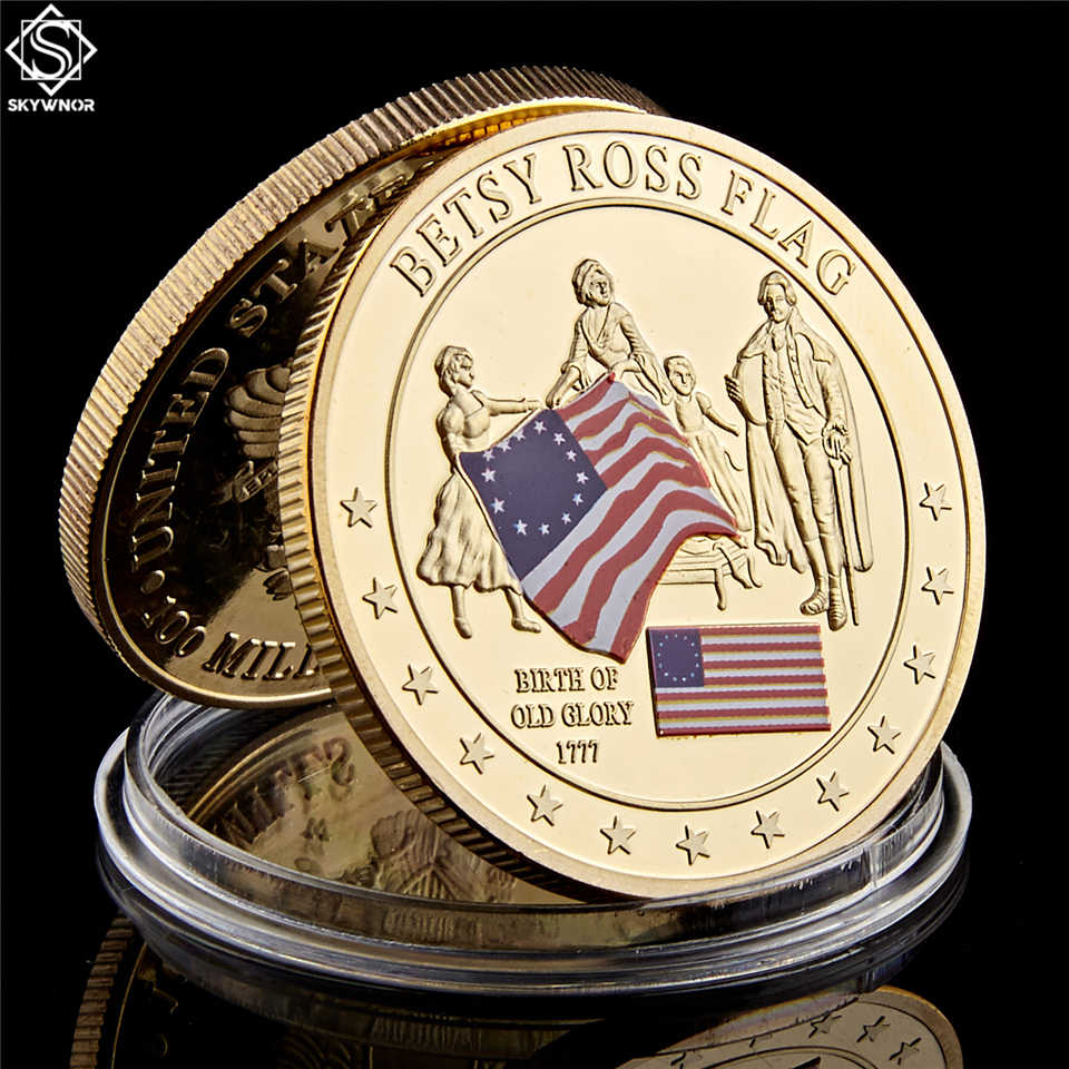 1777 United States History Collection Commemorative Betsy Ross Flag Coin Emorial Continental Meeting