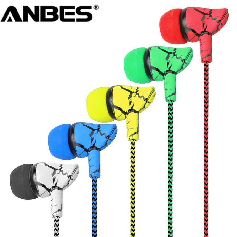 ANBES 3.5mm Plug Crack Braided Wired Headphone with Microphone Wired Control Super