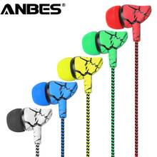 ANBES Crack Braided Wired Headphone with Microphone Wired Control Super Bass Universal for Android iPhone 3.5mm Plug
